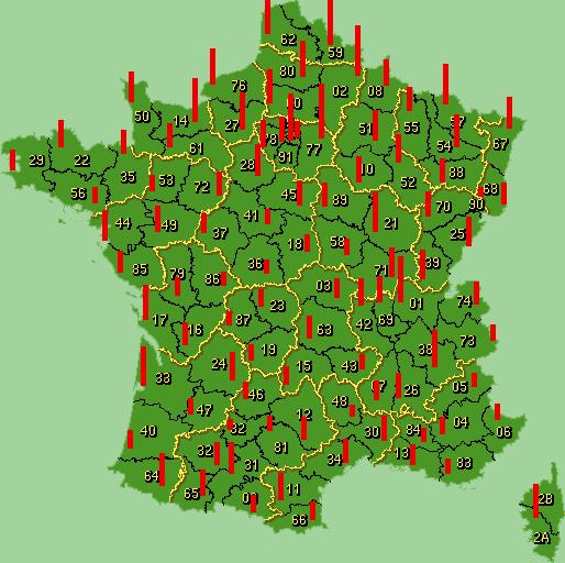 Carte de france des statistiques des départements de codes postaux